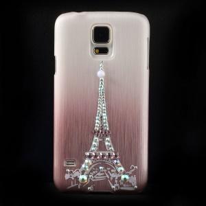 Eiffel Tower Rhinestone Brushed Hard Case Shell for Samsung Galaxy S5 G900 - Pink