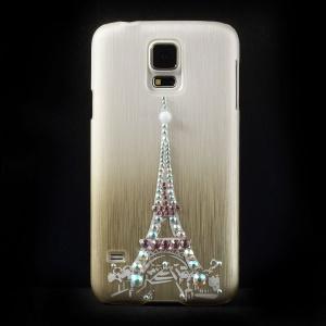 Eiffel Tower Rhinestone Brushed Hard Shell for Samsung Galaxy S5 G900 - Champagne