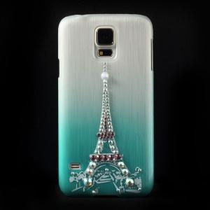 Eiffel Tower Rhinestone Brushed Hard Shell Cover for Samsung Galaxy S5 G900 - Blue