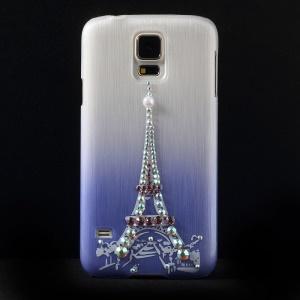 Eiffel Tower Rhinestone Brushed Hard Case Cover for Samsung Galaxy S5 G900 - Purple