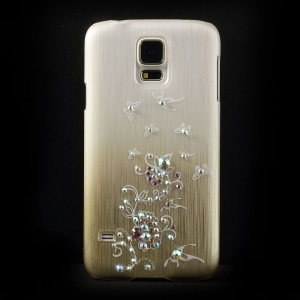 Butterfly Flowers Rhinestone Brushed Hard Shell for Samsung Galaxy S5 G900 - Champagne
