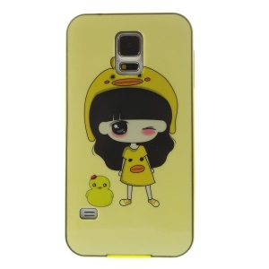 Protective PC + TPU Hybrid Back Case for Samsung Galaxy S5 G900 - Cute Girl & Duck Pattern