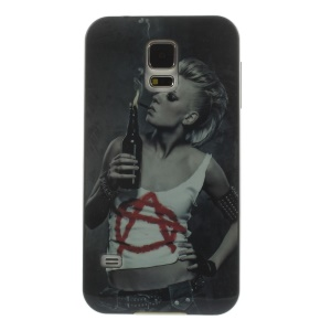 Protective PC + TPU Hybrid Back Cover for Samsung Galaxy S5 G900 - Smoking Girl Pattern