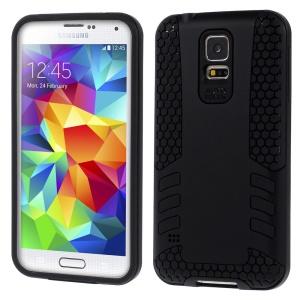 Black for Samsung Galaxy S5 G900 Football Grain PC + TPU Hybrid Hard Case
