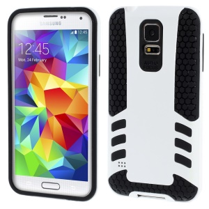 White for Samsung Galaxy S5 G900 Football Grain PC + TPU Hybrid Hard Cover