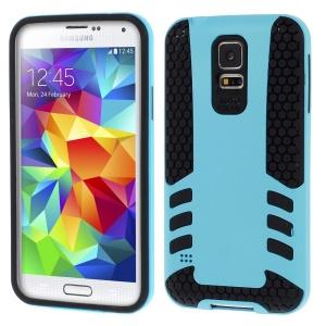 Blue for Samsung Galaxy S5 G900 Football Grain PC + TPU Hybrid Back Case