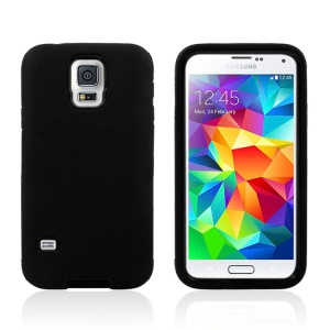 Two Piece Silicone + PC Defender Hybrid Case for Samsung Galaxy S5 G900 - Black