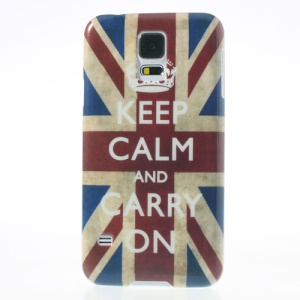 Quote Keep Calm and Carry on & Retro Union Jack Flag Glossy Hard Cover for Samsung Galaxy S5 G900