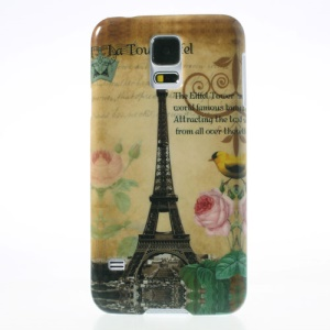 Eiffel Tower Flowers Glossy Hard Protective Case for Samsung Galaxy S5 G900