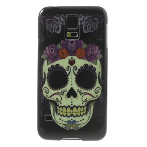 Flowered Skull Glossy Hard Back Case for Samsung Galaxy S5 G900 G900P