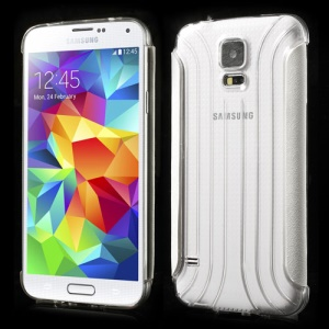 White Silk Texture Leather Wrapped Sides Transparent PC Case for Samsung Galaxy S5 G900