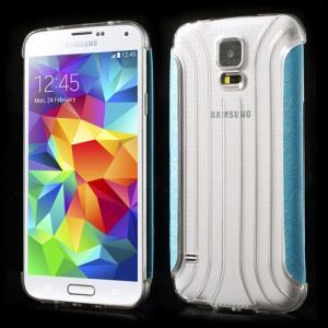 Blue Silk Texture Leather Wrapped Transparent Hard Shell for Samsung Galaxy SV G900 G900F