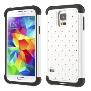 For Samsung Galaxy S5 G900 Rhinestone Starry Sky Design PC & Silicone Hybrid Case - White