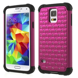 For Samsung Galaxy S5 G900J Rhinestone Starry Sky Design 2 in 1 PC & Silicone Hybrid Cover - Rose