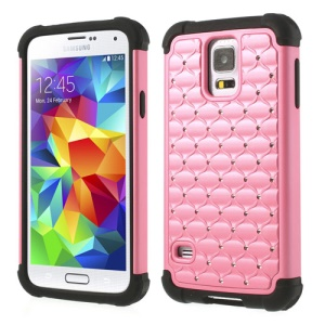 Rhinestone Starry Sky Design 2 in 1 PC & Silicone Hybrid Cover for Samsung Galaxy S5 G900 - Pink