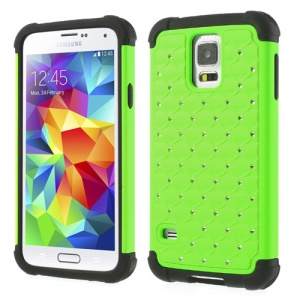 Rhinestone Starry Sky Design 2 in 1 PC & Silicone Hybrid Cover for Samsung Galaxy S5 G900 - Green