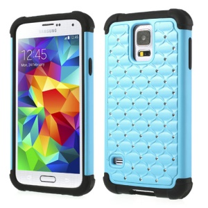 Rhinestone Starry Sky Design 2 in 1 PC & Silicone Combo Shell for Samsung Galaxy S5 G900 - Light Blue