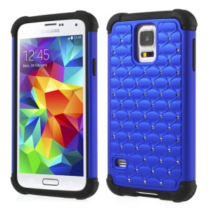 Rhinestone Starry Sky Design 2 in 1 PC & Silicone Combo Shell for Samsung Galaxy SV G900 - Dark Blue