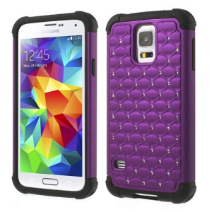 Rhinestone Starry Sky Design 2 in 1 PC & Silicone Combo Shell for Samsung Galaxy SV G900 - Purple