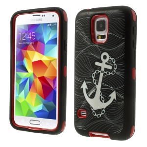 Red for Samsung Galaxy S5 G900 Anchor Pattern Silicone & Plastic Protective Hybrid Case