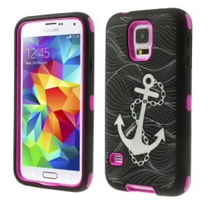 Rose for Samsung Galaxy S5 G900 Anchor Pattern Silicone & Plastic Protective Hybrid Case