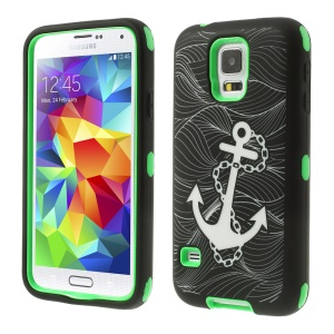 Green for Samsung Galaxy S5 G900 Anchor Pattern Silicone & Plastic Impact Resistant Hybrid Case