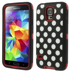 Red for Samsung Galaxy S5 G900 G900I G900F Polka Dots 3 in 1 Silicone & PC Armored Hybrid Case