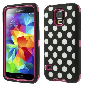 Rose for Samsung Galaxy S5 G900 Polka Dots 3 in 1 Silicone & PC Armored Hybrid Case