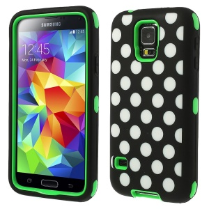 Green for Samsung Galaxy SV G900 Polka Dots 3 in 1 Silicone & PC Armored Hybrid Case
