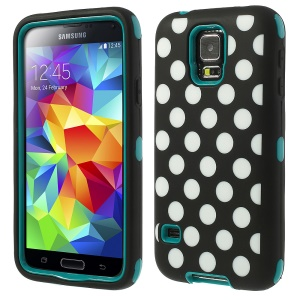 Cyan for Samsung Galaxy SV G900 G900M 3 in 1 Silicone & PC Armored Hybrid Cover Polka Dots Pattern
