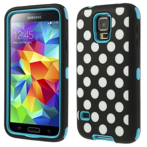 Blue for Samsung Galaxy SV G900 G900K 3 in 1 Silicone & PC Armored Hybrid Shell Polka Dots Pattern