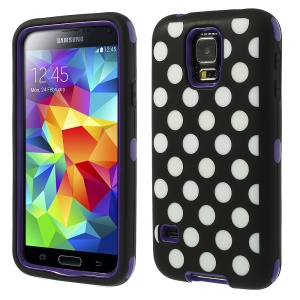 Purple for Samsung Galaxy SV G900 G900K 3 in 1 Silicone & PC Armored Hybrid Case Polka Dots Pattern