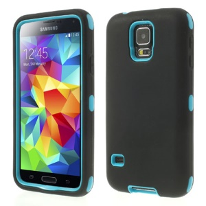 Dual-layer PC & Silicone Robot Combo Case for Samsung Galaxy S5 G900A - Blue / Black