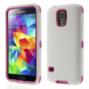Dual-layer PC & Silicone Impact Resistant Combo Cover for Samsung Galaxy S5 G900M - Rose / White