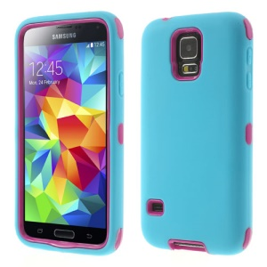 For Samsung Galaxy S5 G900 Dual-layer PC & Silicone Impact Resistant Combo Shell - Rose / Blue