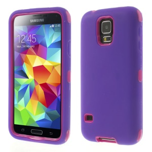For Samsung Galaxy GS 5 SV G900 Dual-layer PC & Silicone Impact Resistant Combo Shell - Rose / Purple