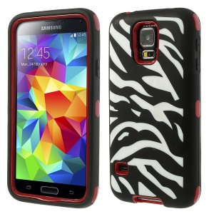 Zebra Silicone & PC 3 in 1 Shock Absorbent Combo Case for Samsung Galaxy S5 G900 - Red