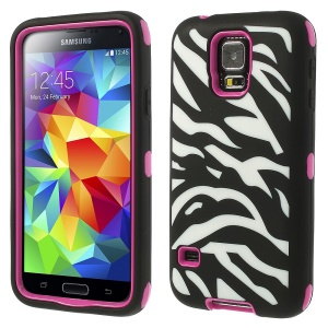 Zebra Silicone & PC 3 in 1 Shock Absorbent Combo Case for Samsung Galaxy S5 G900 - Rose