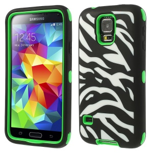 Zebra Silicone & PC 3 in 1 Shock Absorbent Combo Cover for Samsung Galaxy S5 G900 - Green
