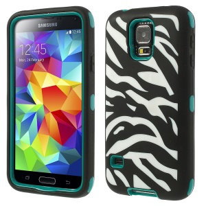 Zebra Silicone & PC 3 in 1 Shock Absorbent Combo Cover for Samsung Galaxy S5 G900 G900H - Cyan