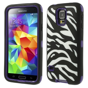 Purple for Samsung Galaxy SV G900 G900T 3 in 1 Silicone & PC Armored Hybrid Case Zebra Pattern