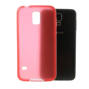 Translucent Matte TPU + Glossy PC Bumper Protective Case for Samsung Galaxy S5 G900 - Red
