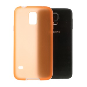 Translucent Matte TPU + Glossy PC Bumper Hybrid Cover for Samsung Galaxy S5 G900 - Orange