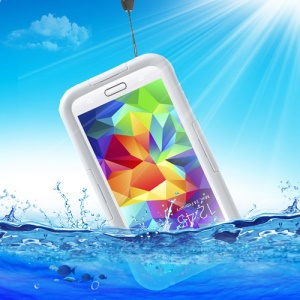 For Samsung Galaxy S5 G900 Waterproof Protective Cover w/ Neck Strap - White