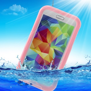 For Samsung Galaxy SV G900 Waterproof Phone Shell Case w/ Neck Strap - Pink