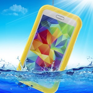 For Samsung Galaxy SV GS 5 G900 Waterproof Shield Case w/ Neck Strap - Yellow