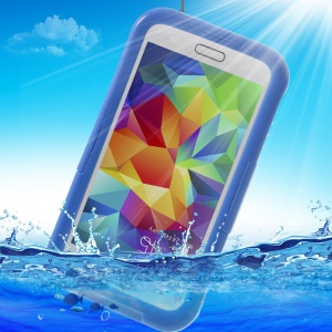For Samsung Galaxy SV GS 5 G900 Waterproof Shield Cover w/ Neck Strap - Blue