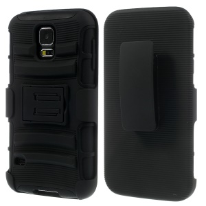 Black for Samsung Galaxy S5 G900 3 in 1 Silicone & Plastic Combo Belt Clip Holster Stand Case