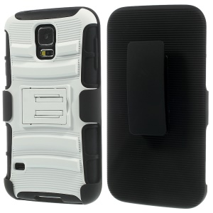 White for Samsung Galaxy S5 G900 3 in 1 Silicone & Plastic Belt Clip Holster Stand Case