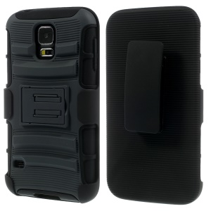 Grey for Samsung Galaxy S5 G900 3 in 1 Silicone & Plastic Belt Clip Holster Stand Cover